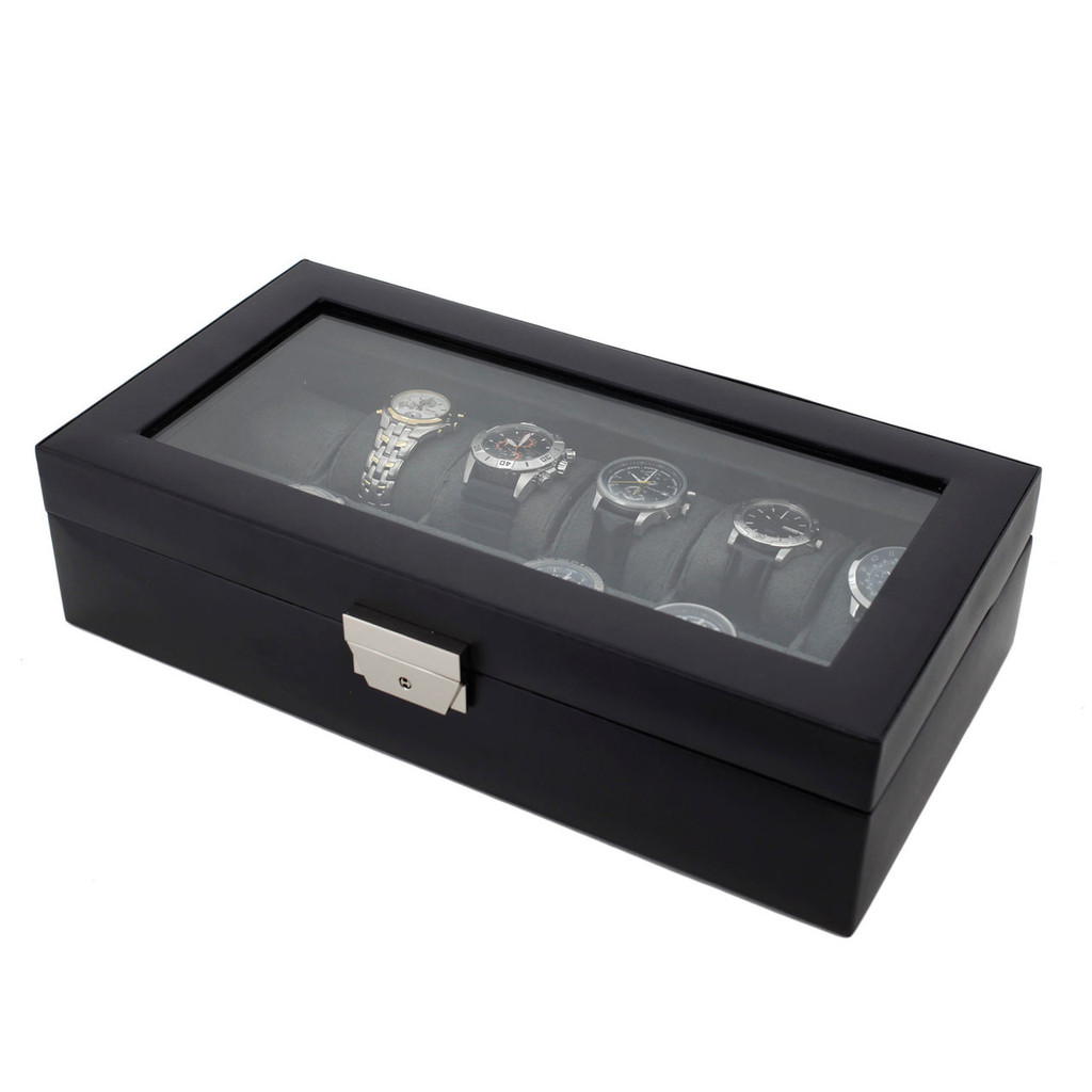 Large Black Leather Watch Case with Display Window | TechSwiss TS5850BLK | Side Closed