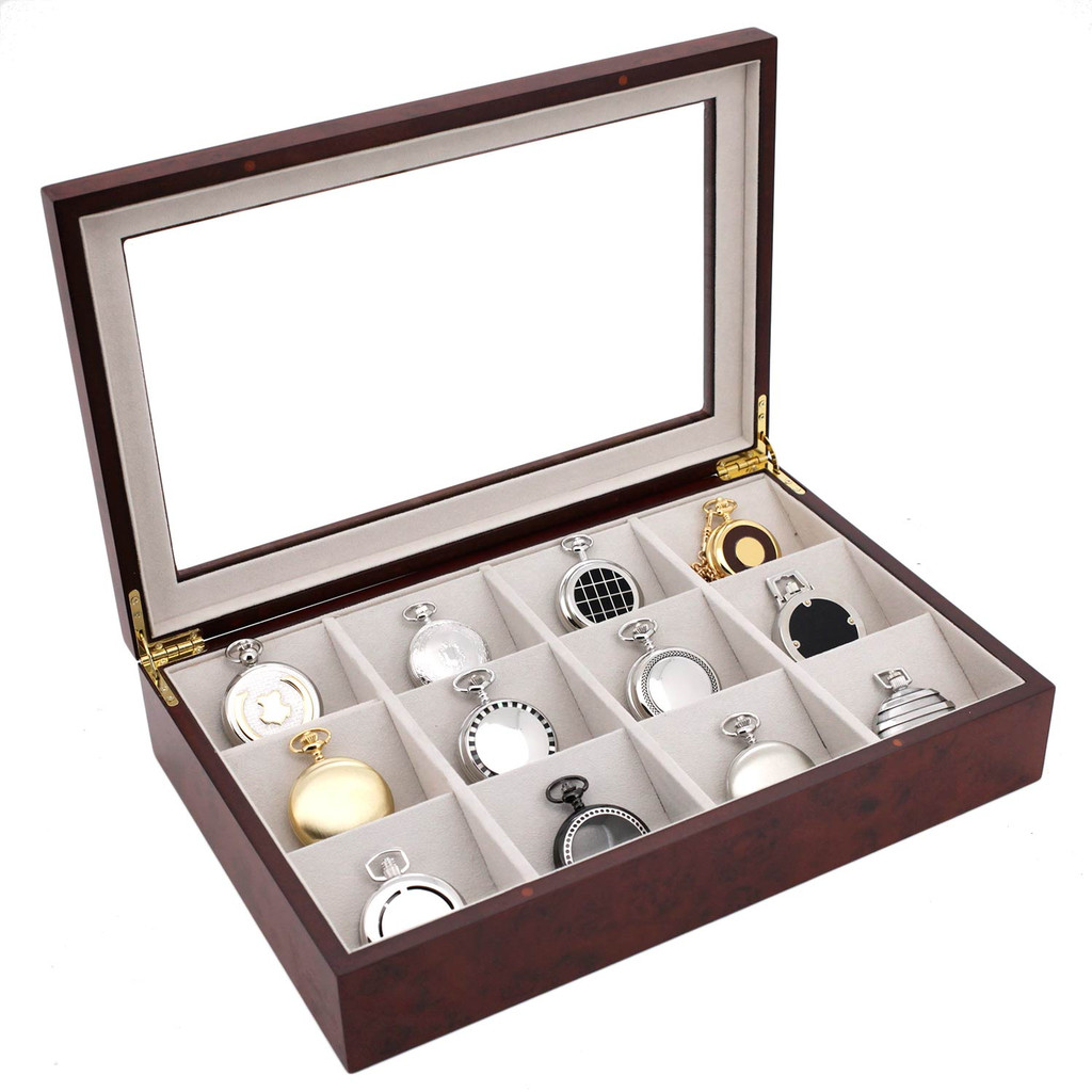 Pocket Watch Storage Case Open Burlwood TSPKT12BUR