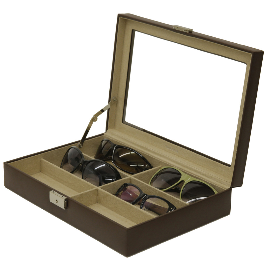 Leather Sunglasses & Eyeglasses Organizer Case Front