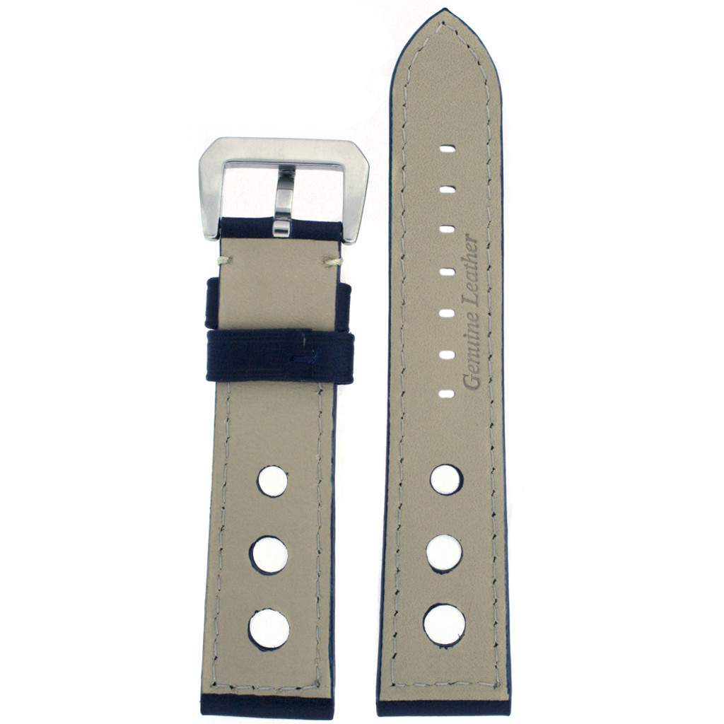 Watch Band Blue Sport Leather Lining LEA487 |TechSwiss | Back