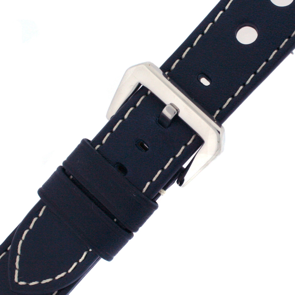 Watch Band Blue Sport Leather Lining LEA487 |TechSwiss | Buckled