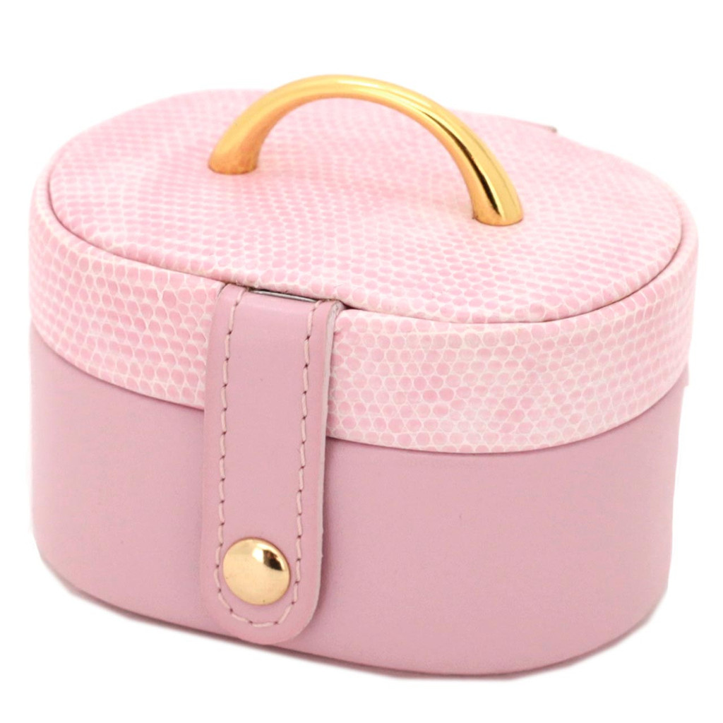 Mini Travel Jewelry Box in Pink Leather - TS2240PINK - Main -