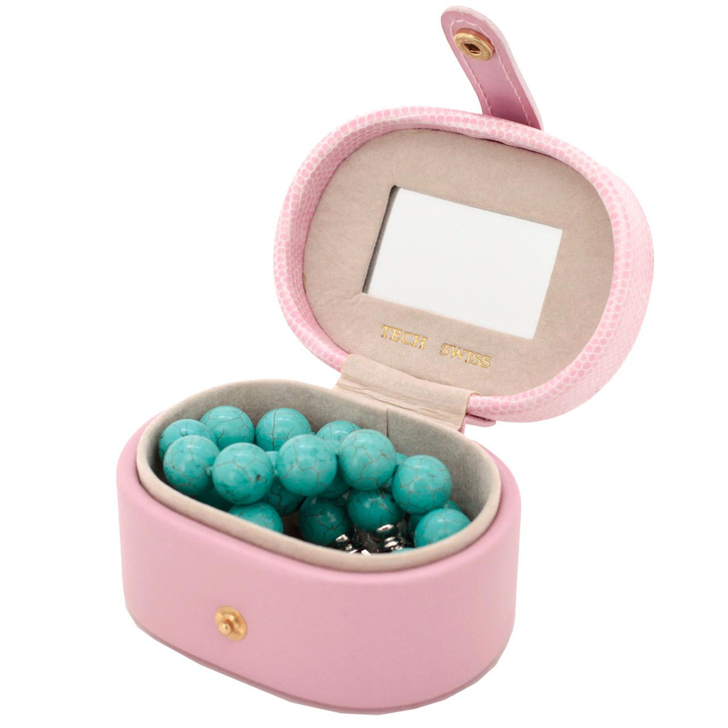 Mini Travel Jewelry Box in Pink Leather - TS2240PINK - Open View