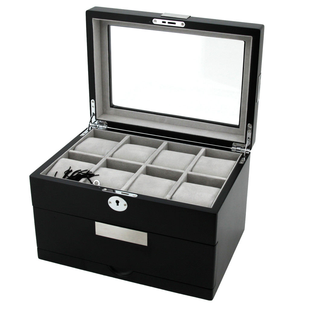 Watch Box for 16 Watches with Metal Tabs in Smooth Black