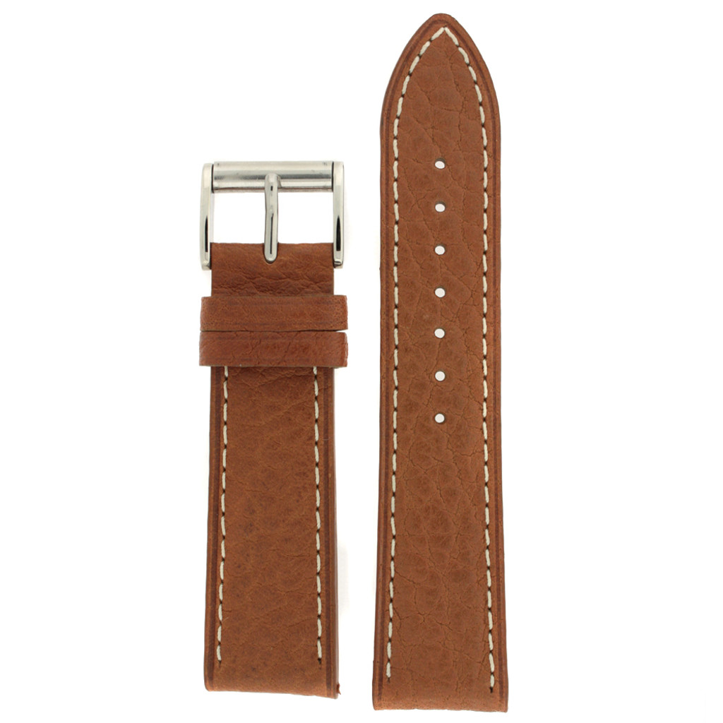Watch Band Tan White Stitching Roller Clasp| LEA470 |TechSwiss | Front