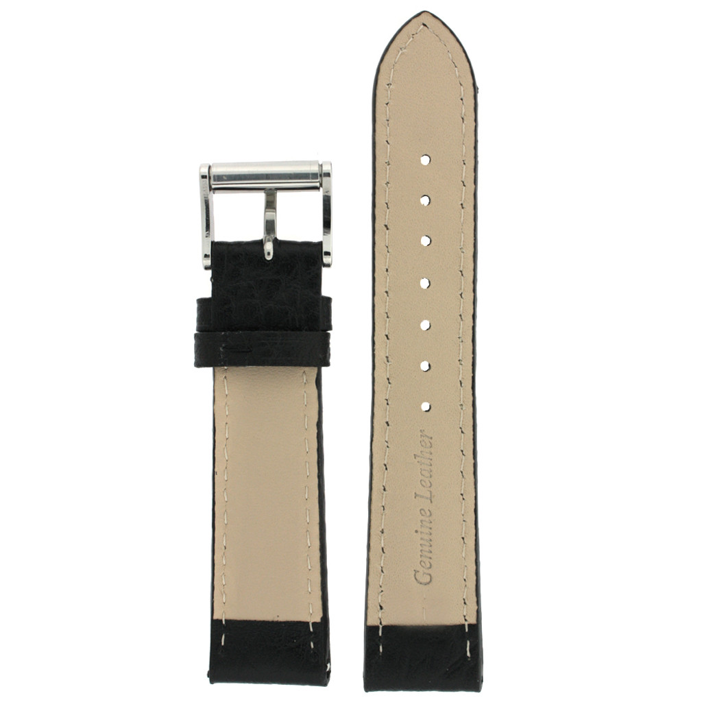 Watch Band Black White Stitching Roller Clasp| LEA472 |TechSwiss | Back