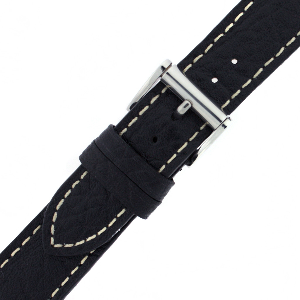 Watch Band Black White Stitching Roller Clasp| LEA472 |TechSwiss | Buckled