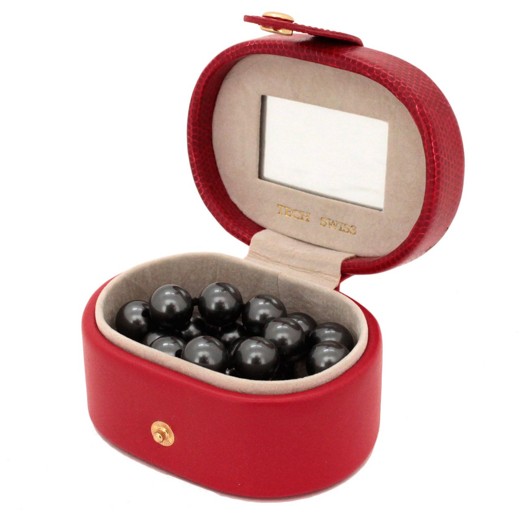 Red Leather Jewelry Gift Case | Open View | TechSwiss | TS2240RED