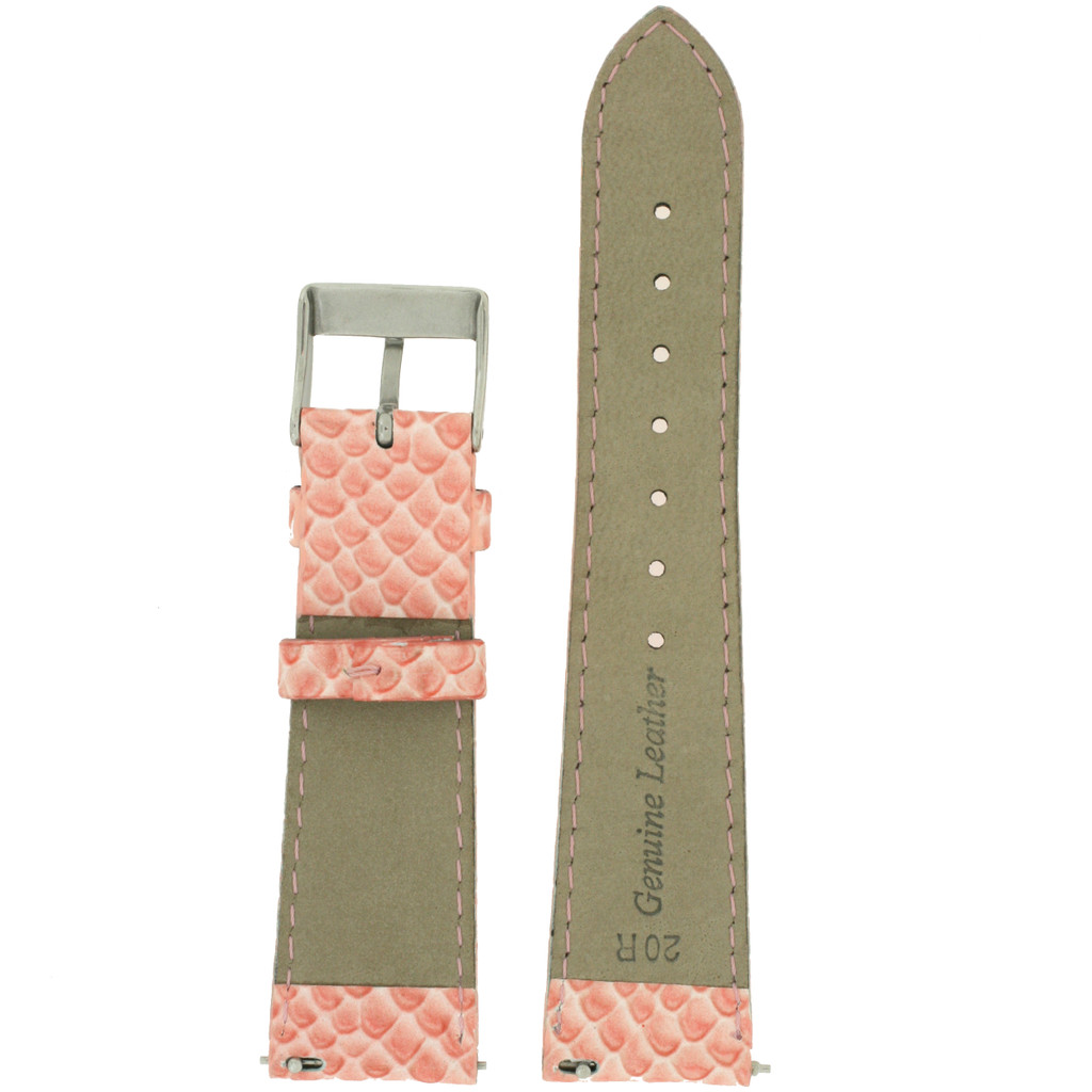 Pink Watch Band Snake Grain | Tech Swiss LEA1120 | Back