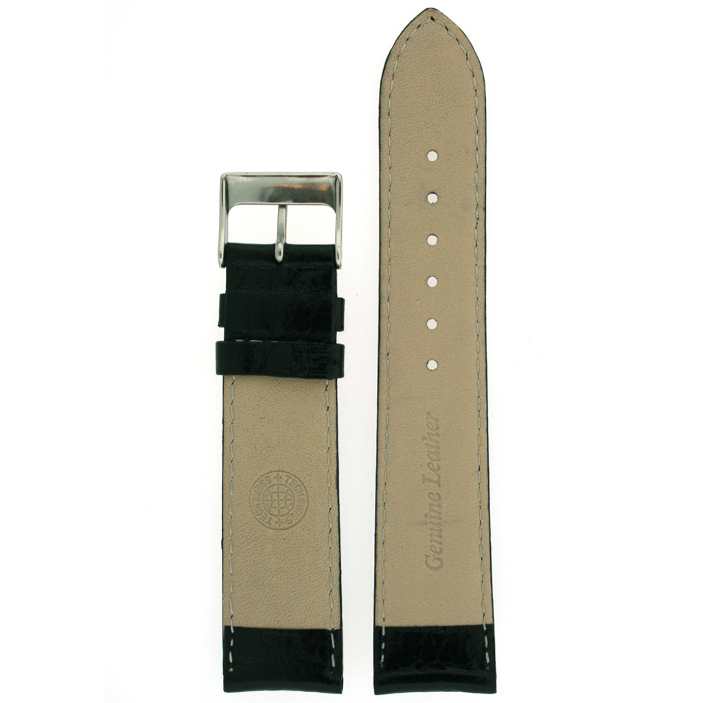 21mm Padded Black Leather Watch Band in Calfskin   Replacement Straps   TechSwiss   Interior