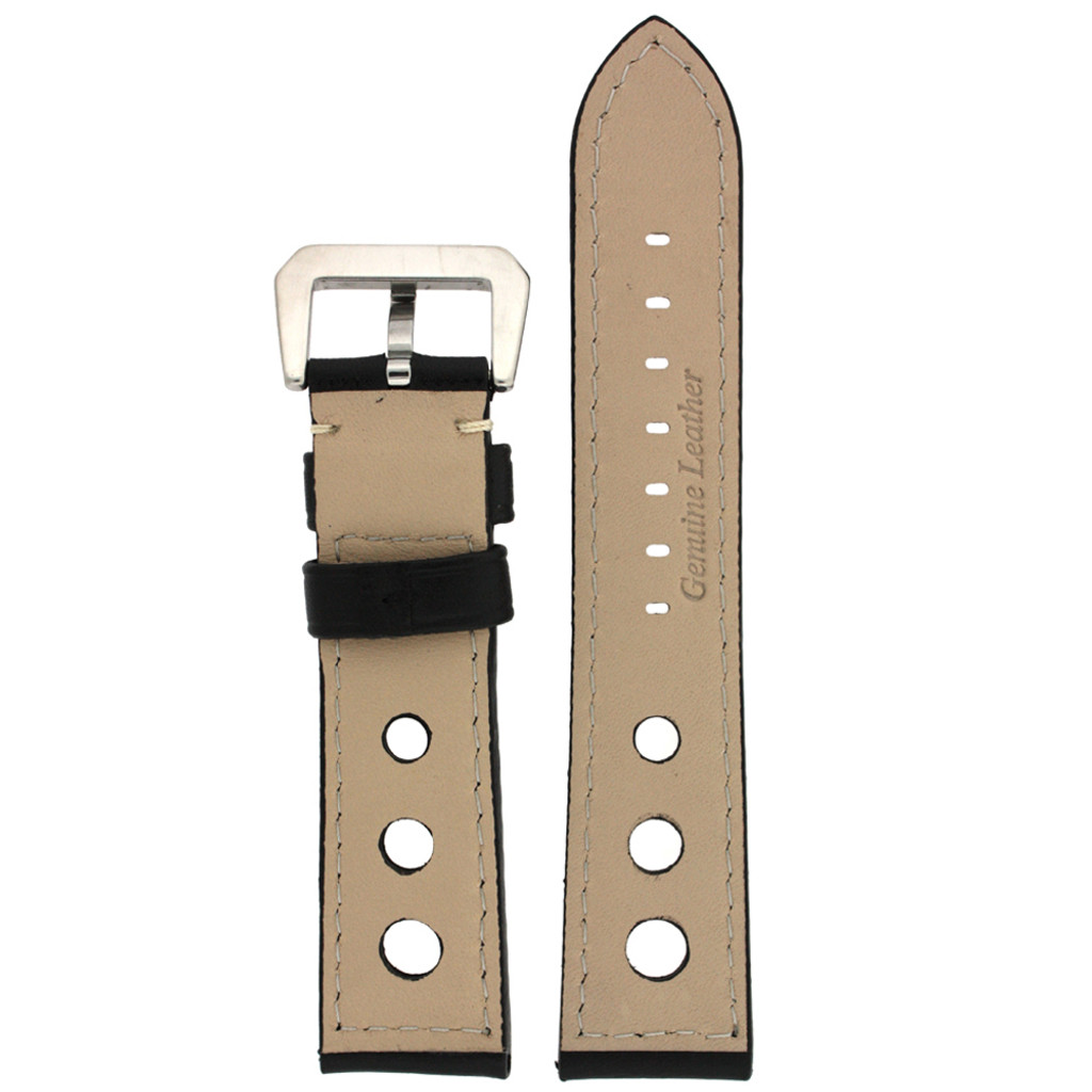 Rally Racing Watch Band Leather Strap Black  20mm, 22mm, 24mm