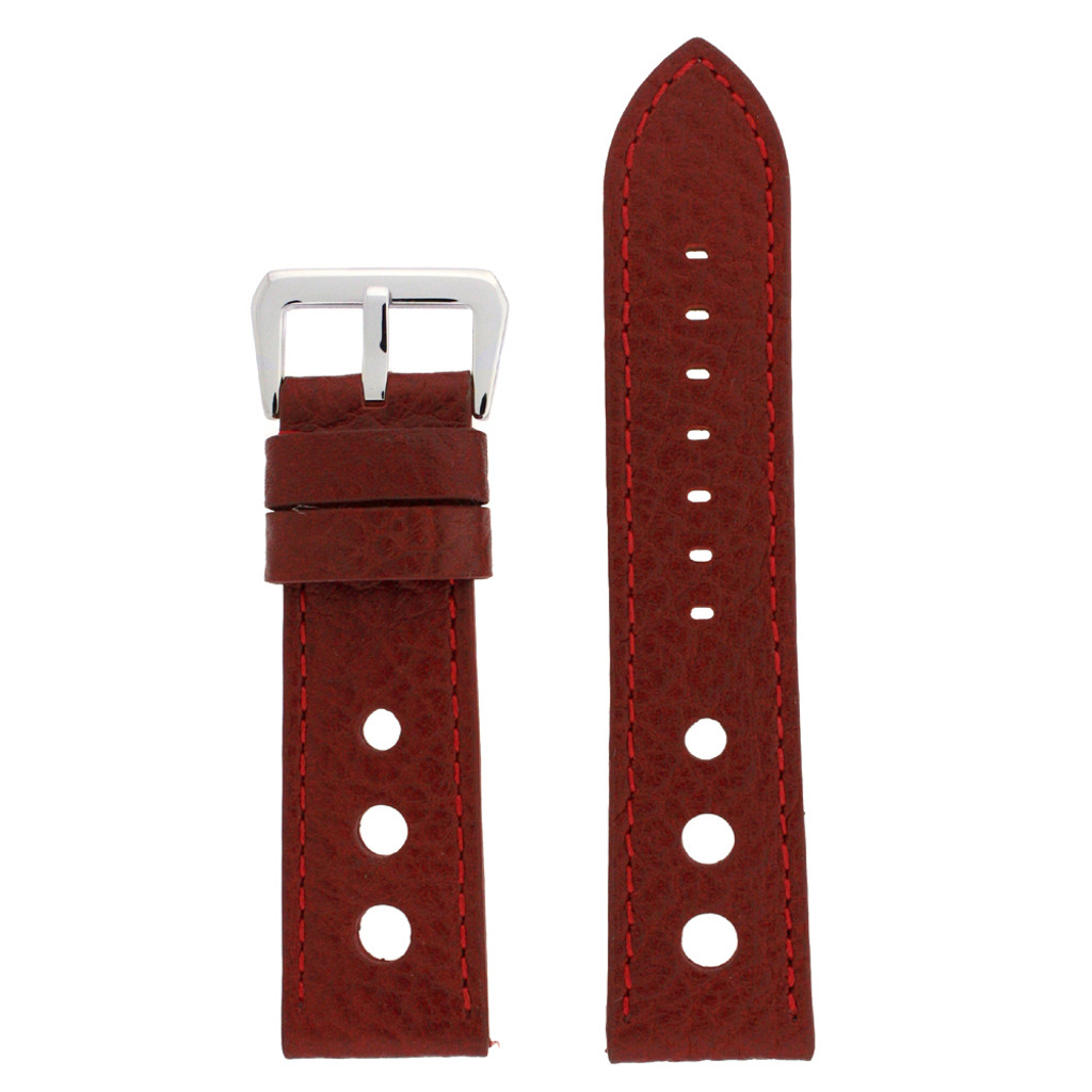 Watch Band Red Sport Leather Lining LEA347  TechSwiss   Front