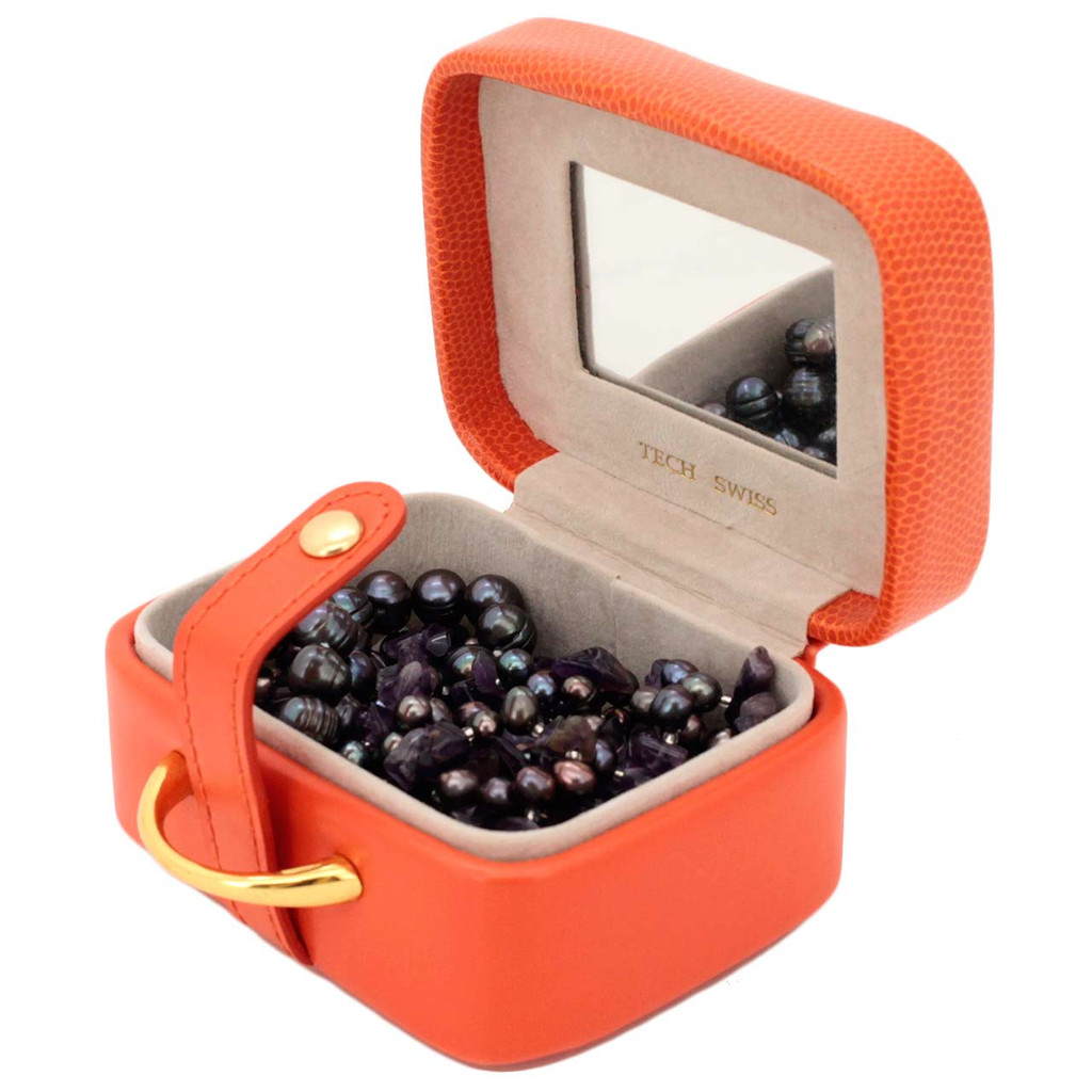 Orange Grain Jewelry Gift Box with Mirror - Open View