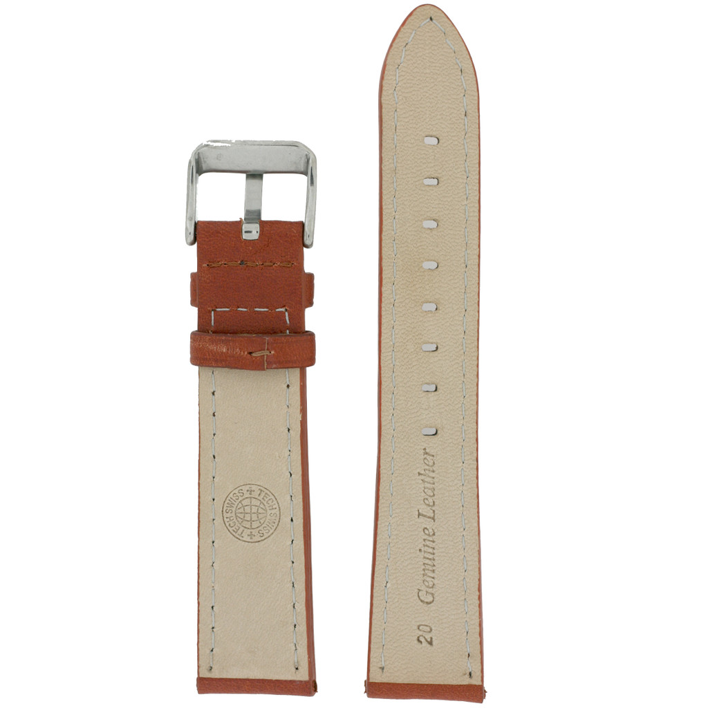 Rustic Brown Calfskin Leather Watch Band Matching Stitching 12mm -22mm