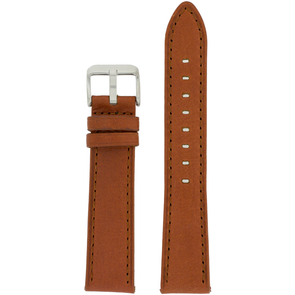 Brown Leather Watch Band with Stainless Steel Buckle | TechSwiss LEA454 | Main