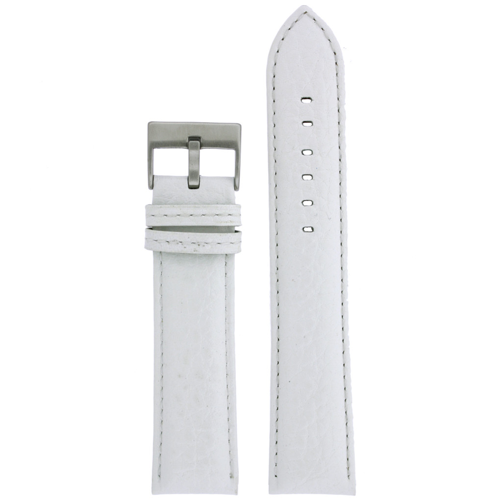 White Leather Watch Band | Pebbled Leather Watch Strap | TechSwiss LEA1367 | Main