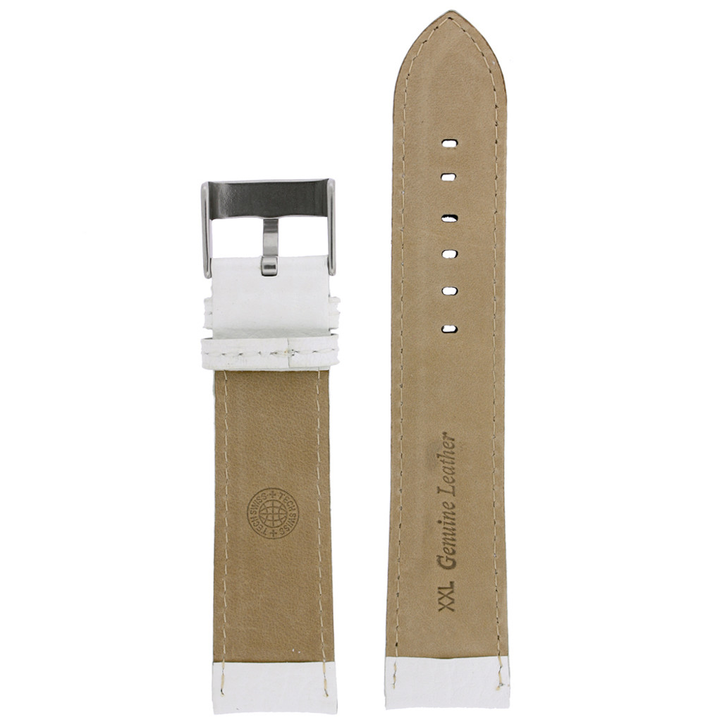 White Leather Watch Band | Leather Watch Strap | TechSwiss LEA1367 | Lining