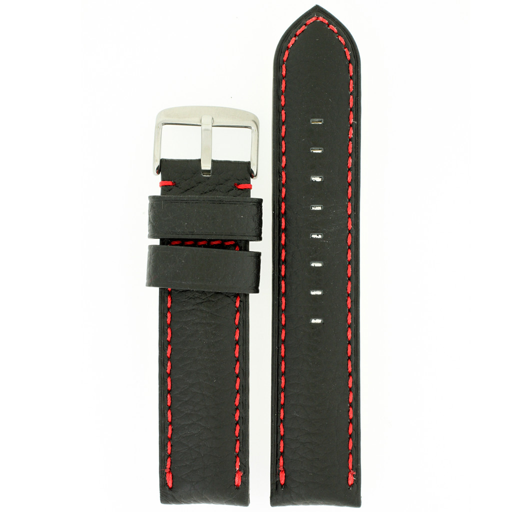 Padded Black Watch Band Red Stitching LEA1572 | Front