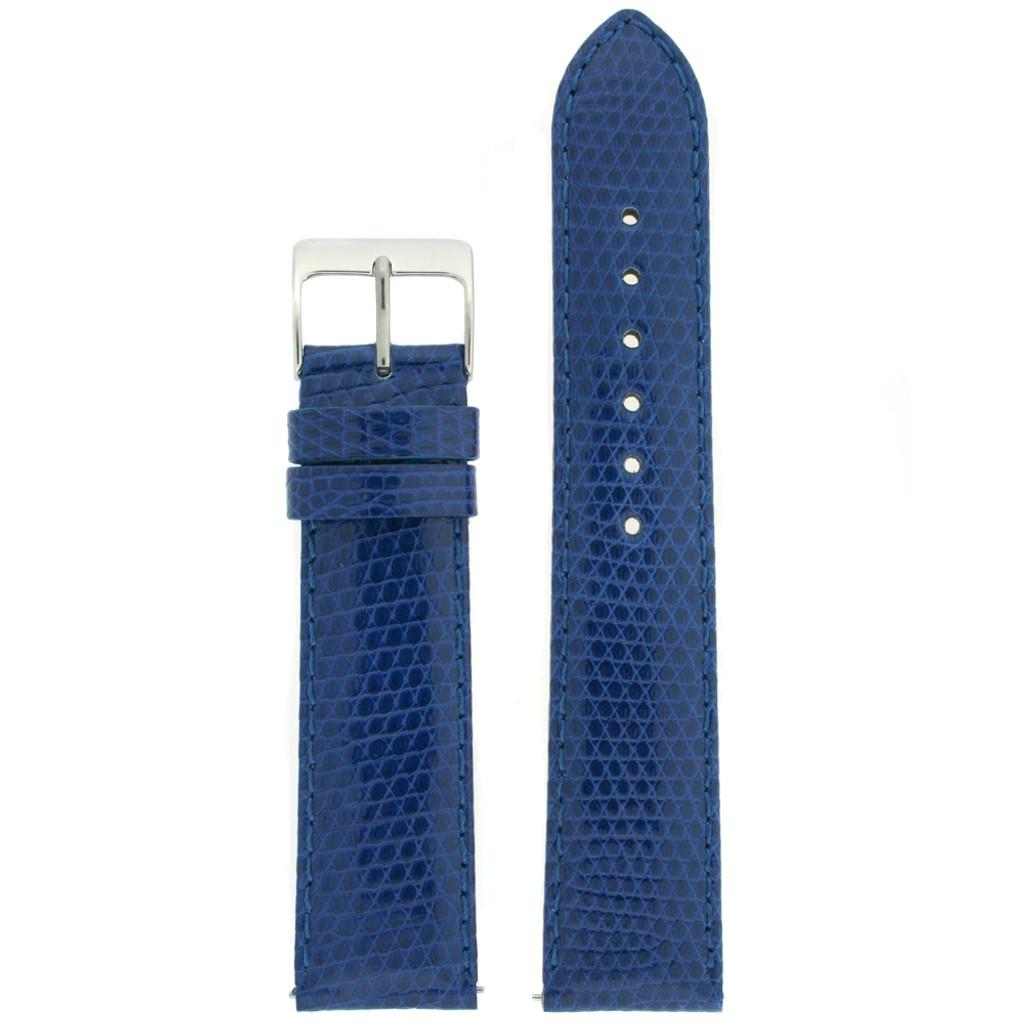 Navy Blue Lizard Watch Band   Genuine Exotic Skin Straps   TechSwiss LEA724   Main