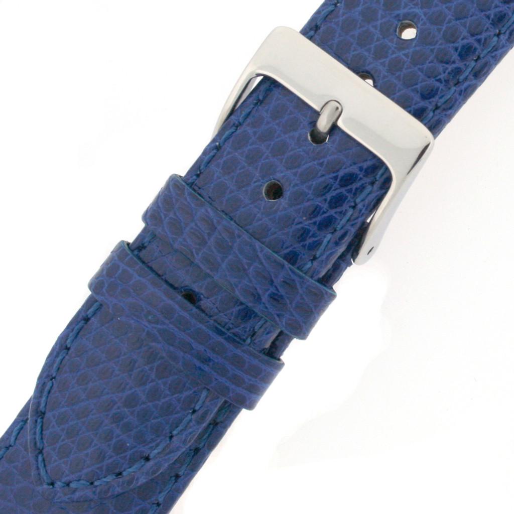 Navy Blue Lizard Watch Band   Genuine Exotic Skin Straps   TechSwiss LEA724   Buckle