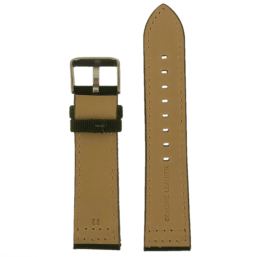 Canvas Water Resistant Watch Band Olive Green Military Mens 20mm and 22mm