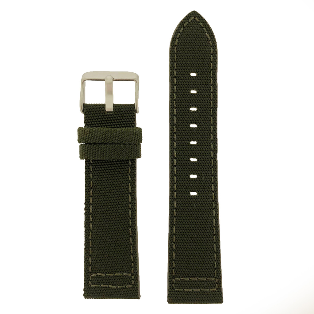 Green Canvas Watch Band | Green Sport Water Resistant Watch Straps | TechSwiss LEA1213 | Main
