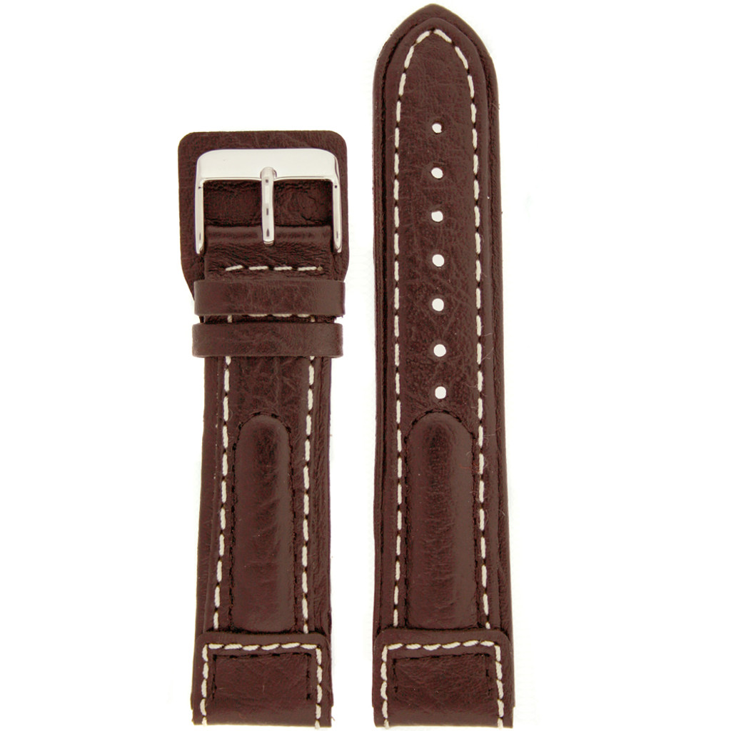 Italian Leather Watch Band Brown with White Contrast Stitching Sport Chronissimo