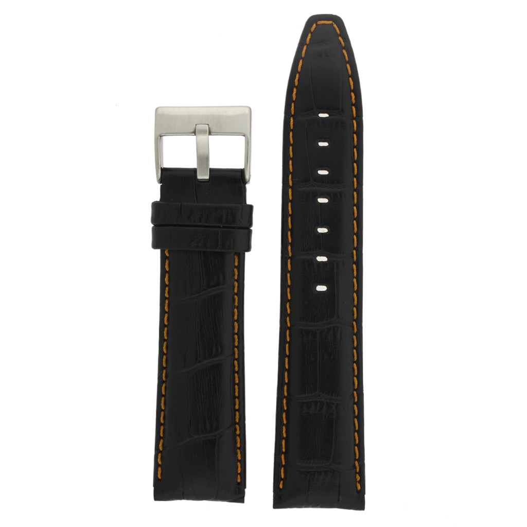 Watch Band Black Leather Crocodile Grain Orange Stitching  20mm - 24mm