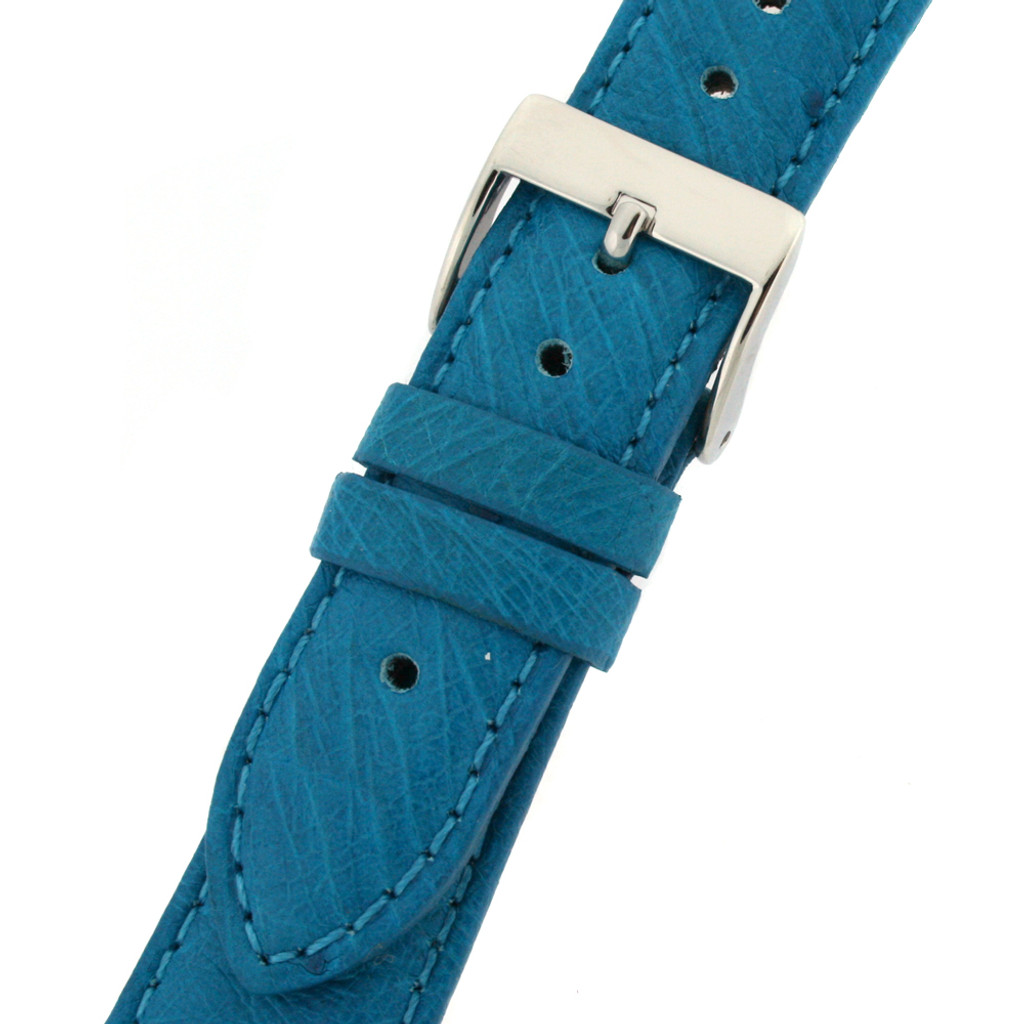 Genuine Ostrich Watch Band Handmade Turquoise Blue  Quick Release - Ladies Length  16mm
