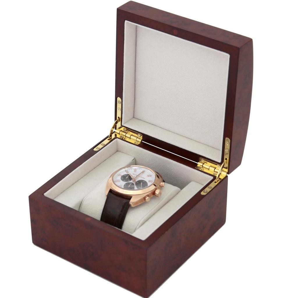 Single Watch Box Burlwood Finish | Single Burlwood Watch Gift Case | TechSwiss TSBOXBUR1