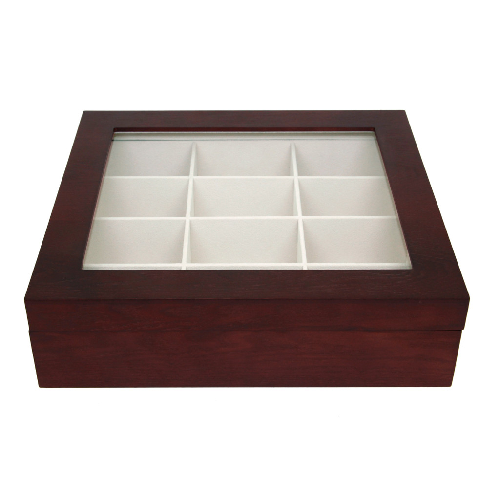 Cherry Wood Tie Box | Tie Display Case TechSwiss TIEBOX1 | Cherry Tie Case | Wood Tie Organizer | Front Closed