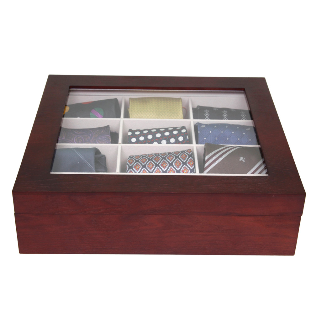 Cherry Wood Tie Box | Tie Display Case TechSwiss TIEBOX1 | Cherry Tie Case | Wood Tie Organizer | Front CLOSED WITH TIES
