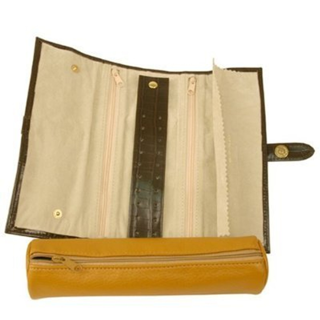 Jewelry Travel Roll Up by TechSwiss | Brown and Yellow Leather | TS531TAN | Side View