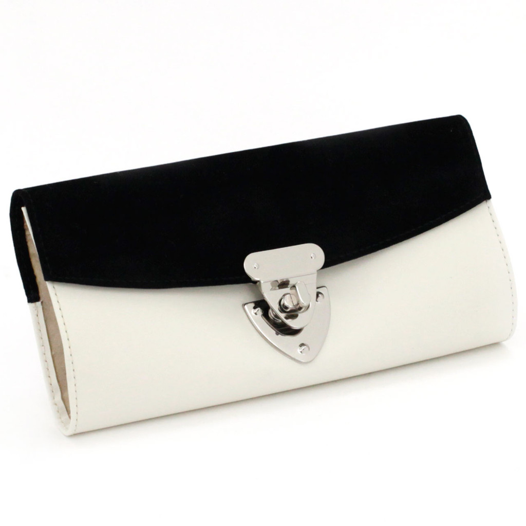 Black and White Classic Jewelry Roll   Elegant Ladie's Jewelry Roll   TechSwiss Jewelry Travel Case TS2659CRE   Main