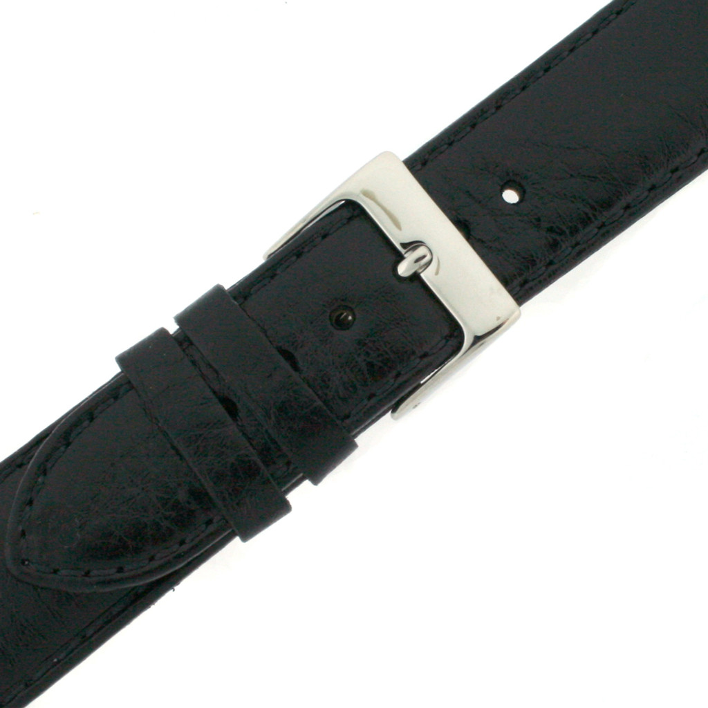 Padded Black Leather Watch Band in Calfskin | Replacement Straps | TechSwiss LEA481 | Side View
