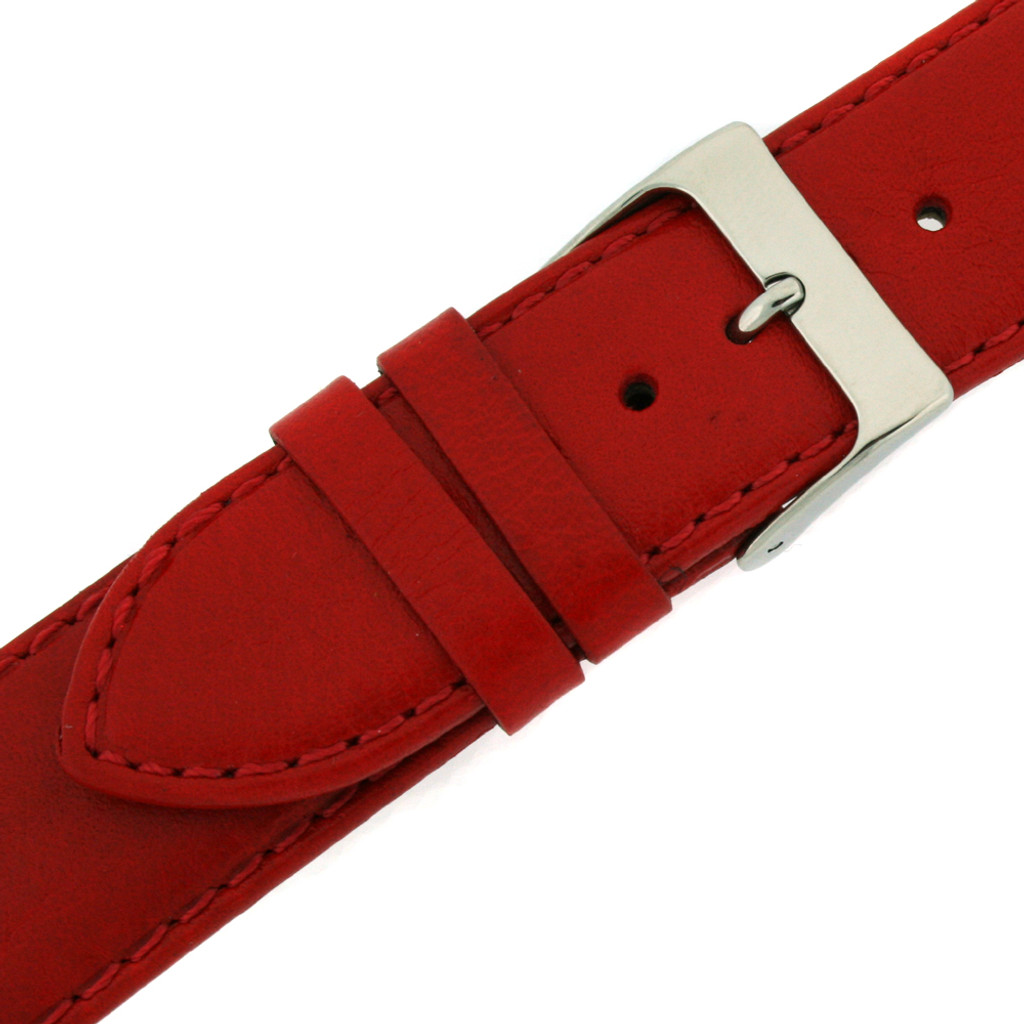 Red Padded Leather Calfskin Watch Band   Replacement Strap from TechSwiss   LEA484   Side View