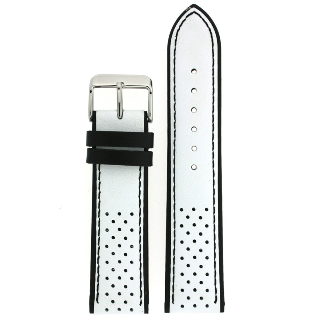 Sport Style Leather Watch Band in Black & White |TechSwiss  LEA1354 | Third Photo