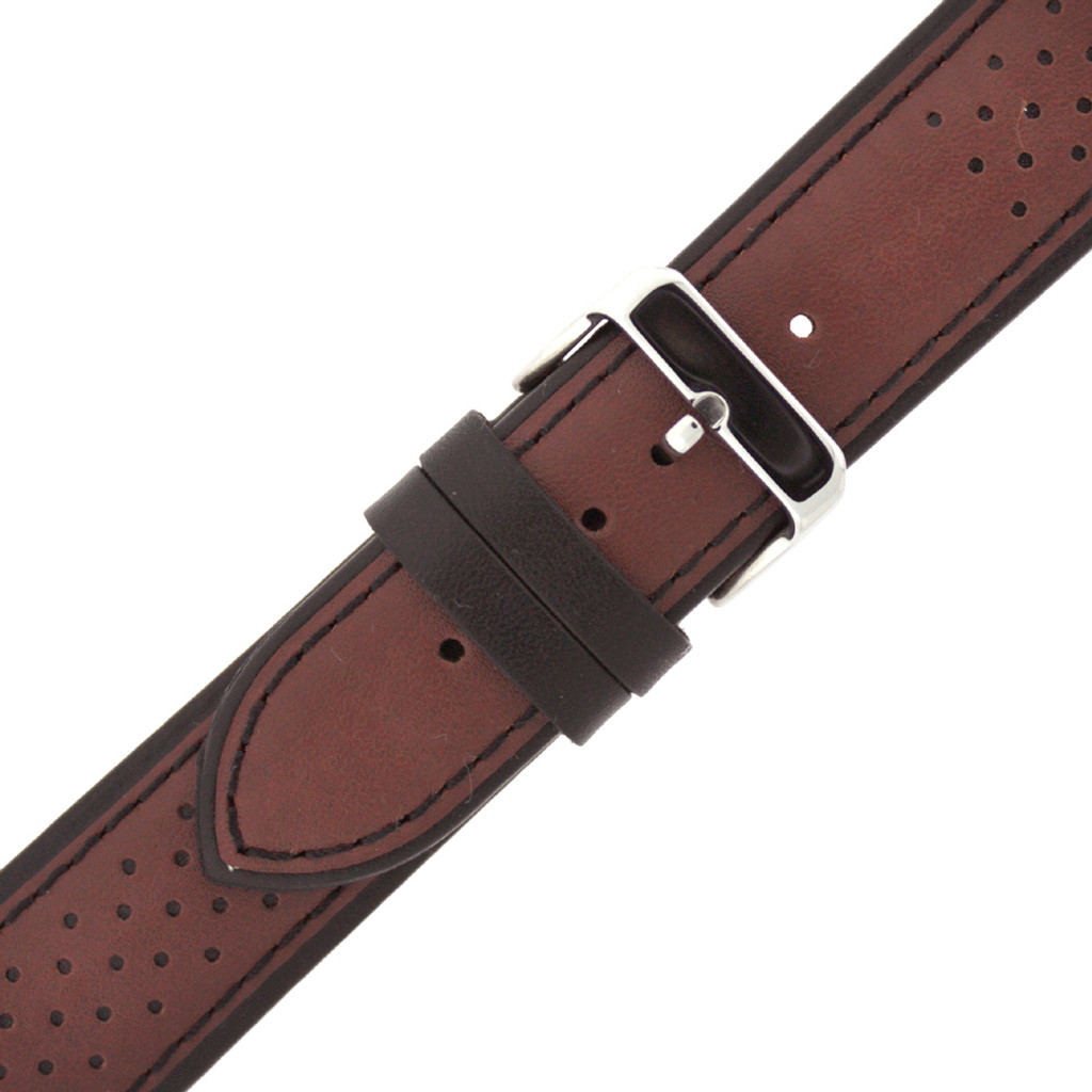 Brown Sport Style Leather Watch Band | TechSwiss Replacement Strap | LEA1352 | Side View
