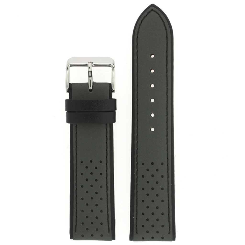 Leather Watch Band in Sport Style Grey & Black   TechSwiss LEA1355   Third