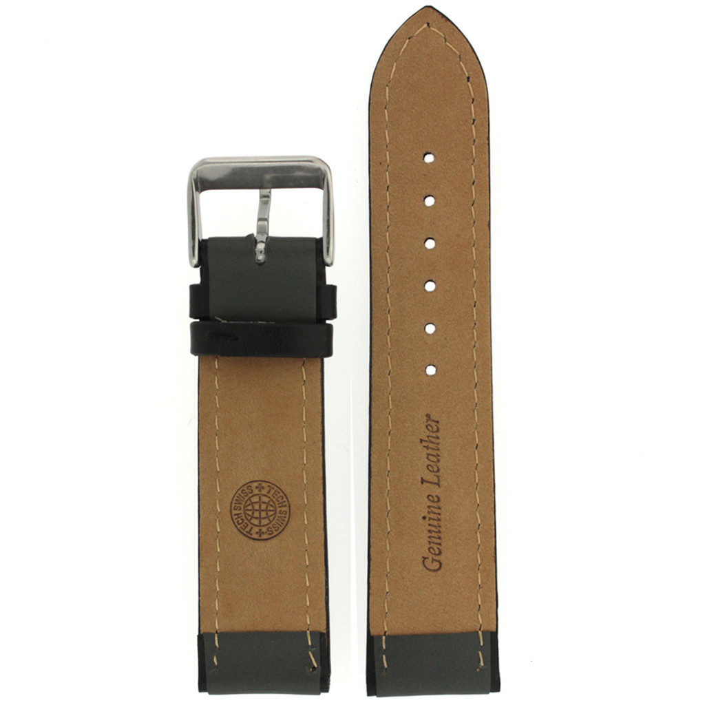 Leather Watch Band in Sport Style Grey & Black   TechSwiss LEA1355   Main