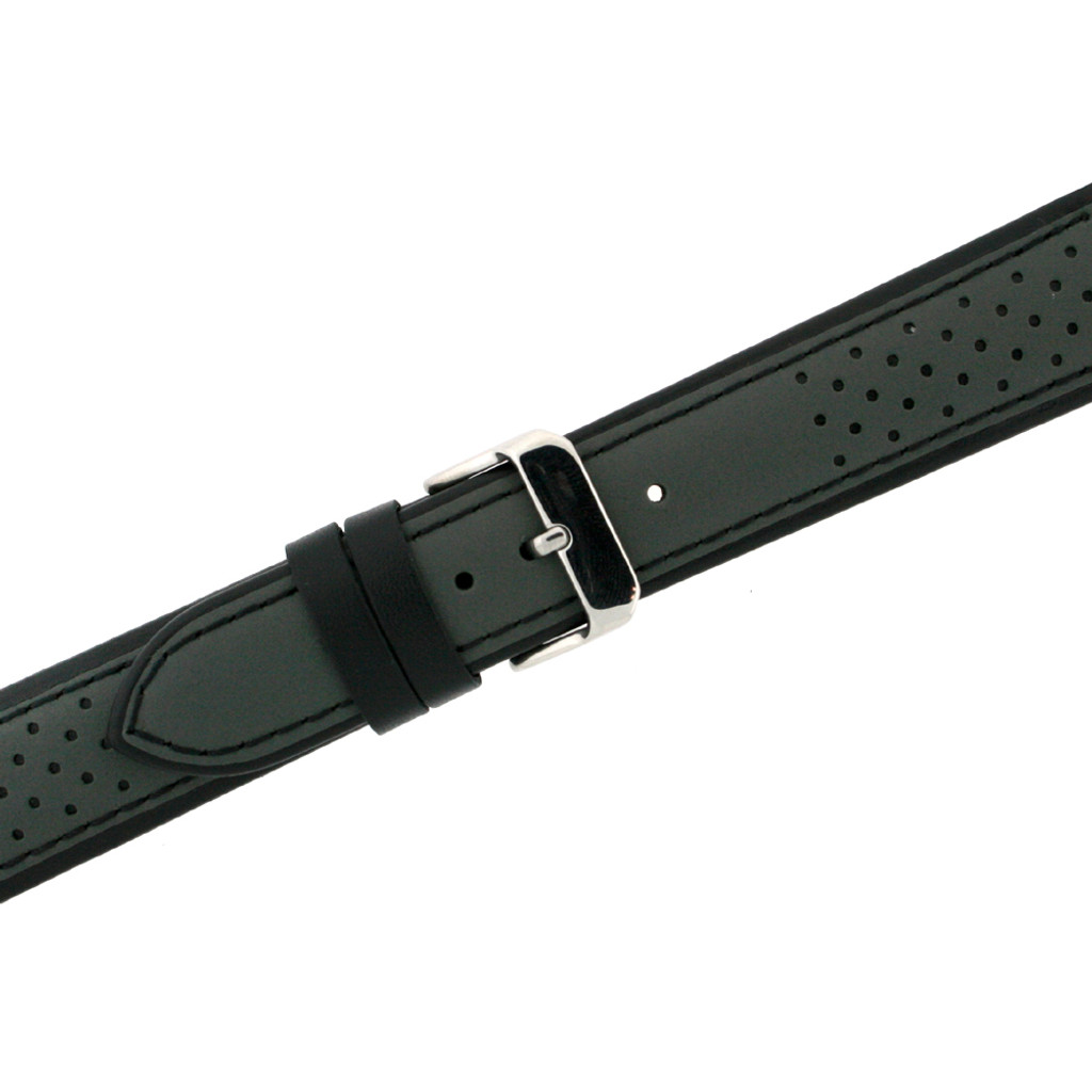 Leather Watch Band in Sport Style Grey & Black | TechSwiss LEA1355 | Second