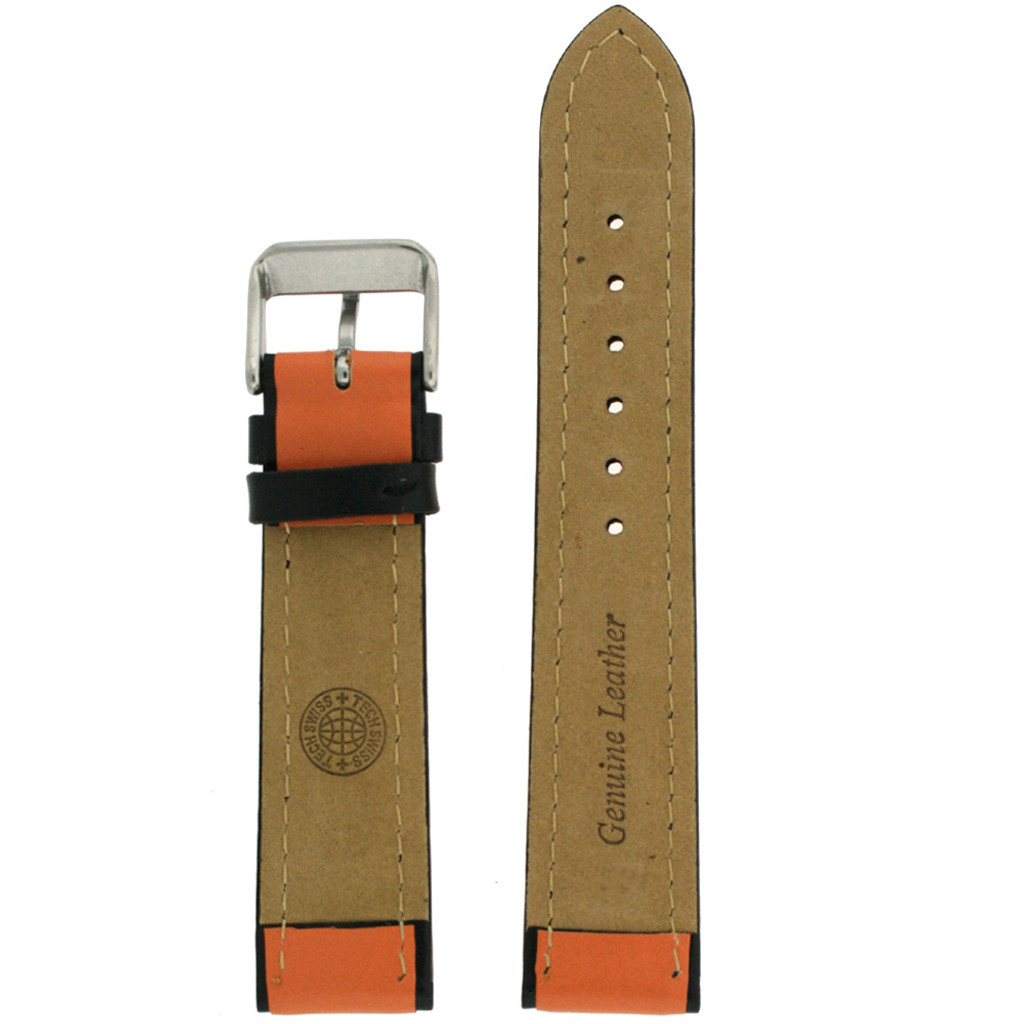Leather Sport Watch Band in Orange | TechSwiss LEA1350 | European Style | Main