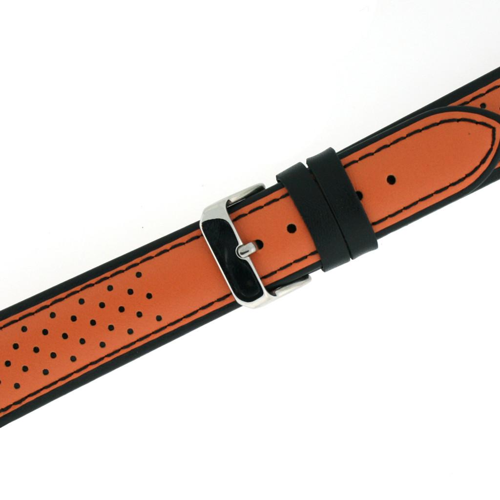 Leather Sport Watch Band in Orange | TechSwiss LEA1350 | European Style | Second
