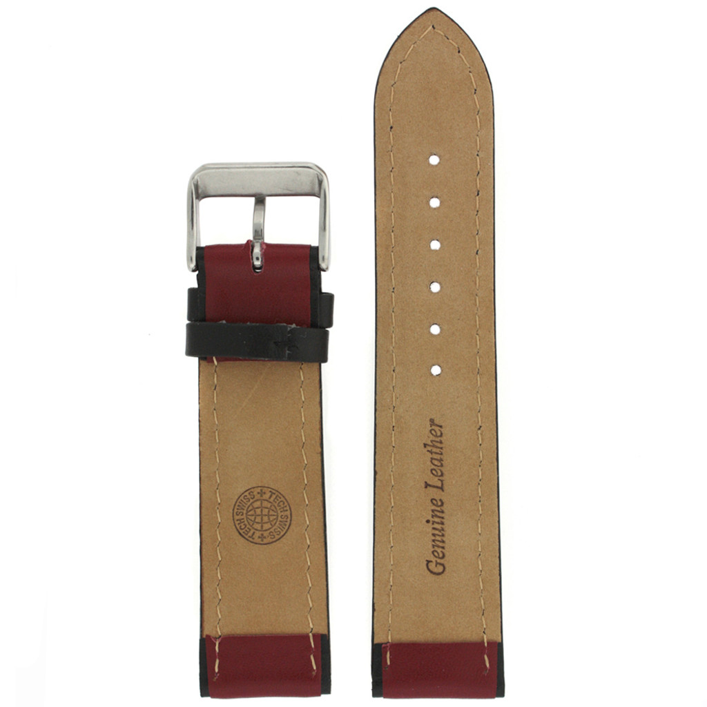 Leather Sport Style Watch band in Red Black   TechSwiss LEA1353   Main View