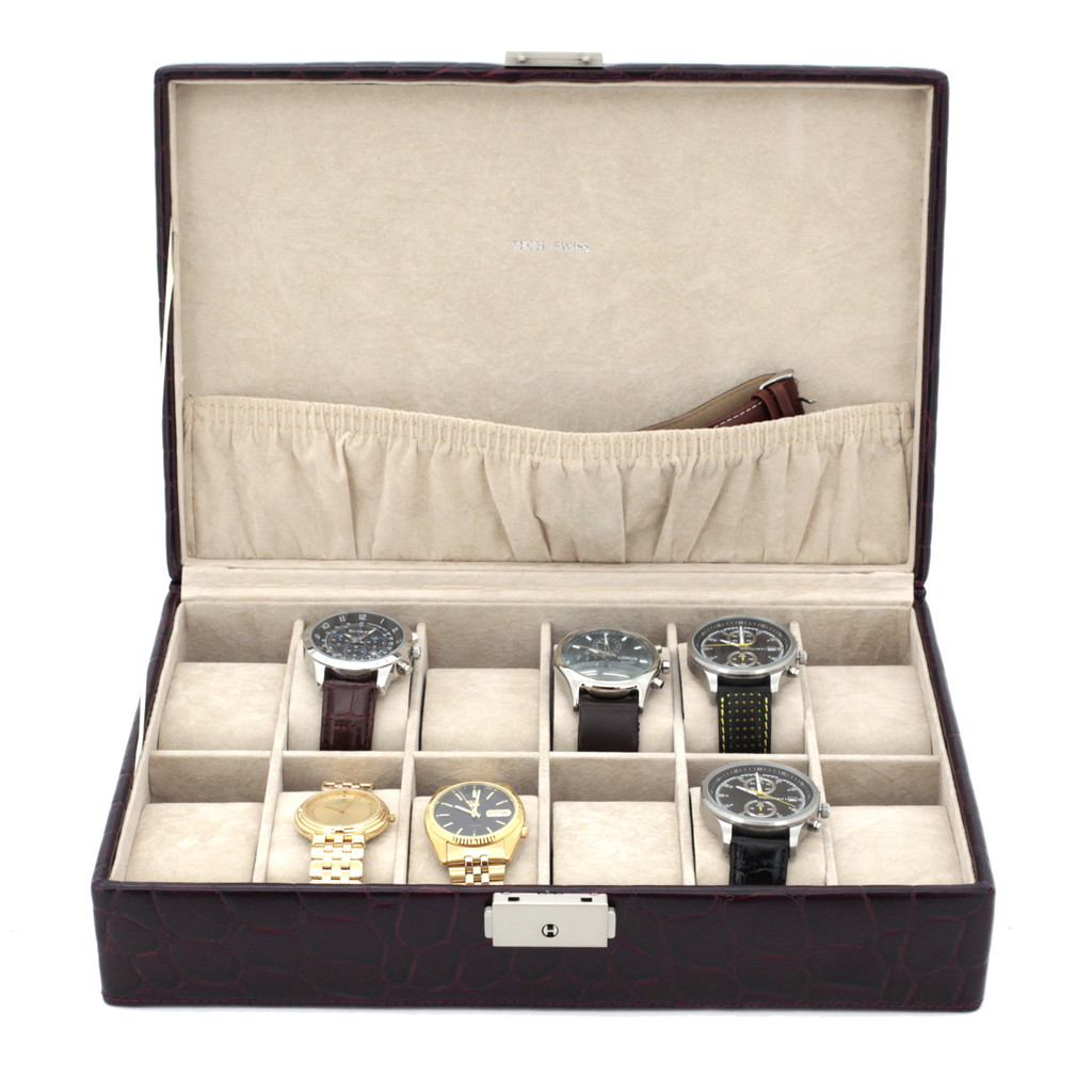 Burgundy Leather Watch Box | TechSwiss TS2890BUR | Front