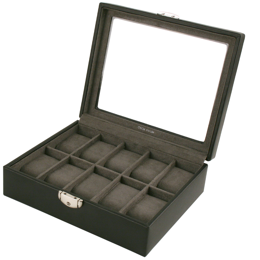 TechSwiss Black Leather Watch Box | Mens Luxury Organizers | TechSwiss TSA3736 | Main