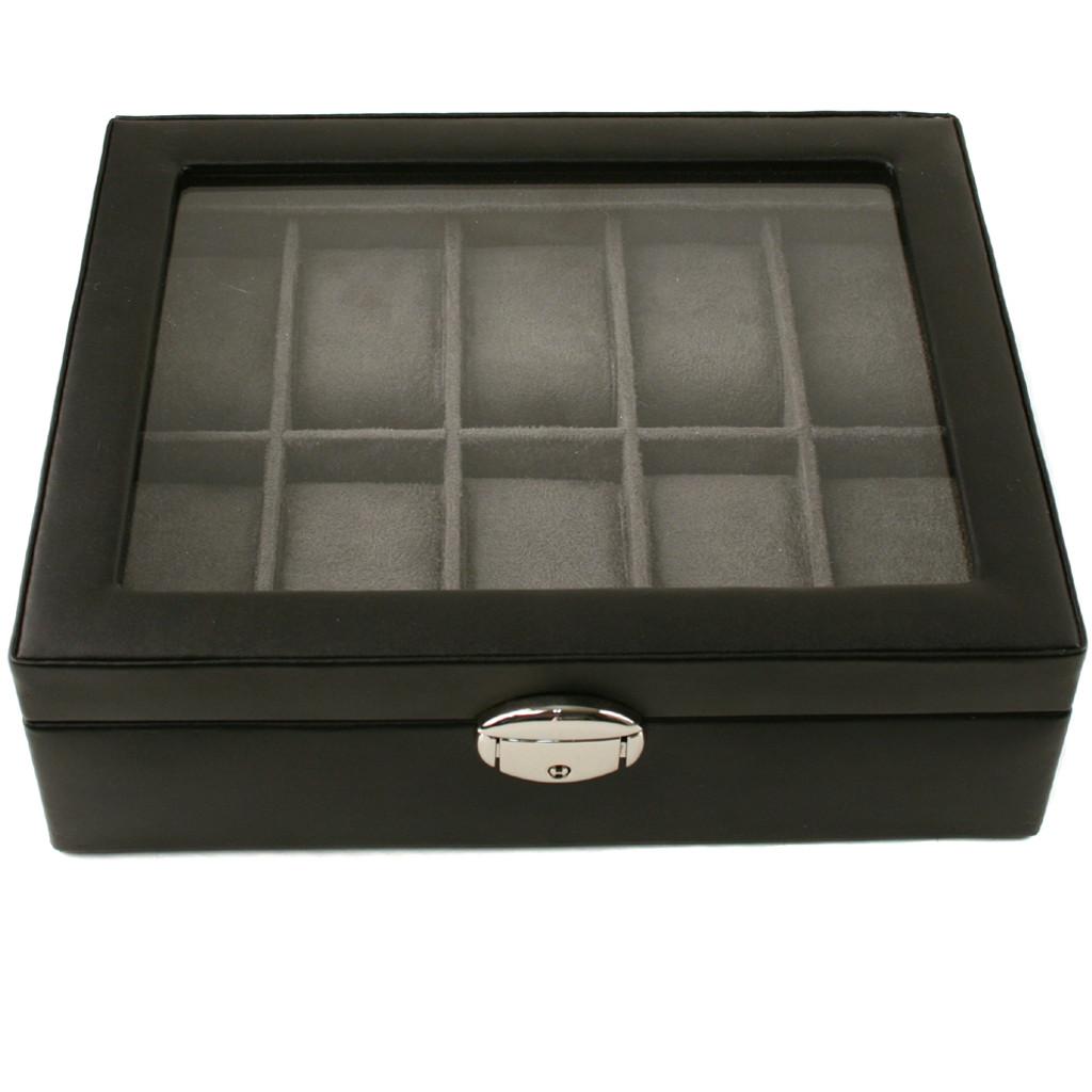 TechSwiss Black Leather Watch Box | Mens Luxury Organizers | TechSwiss TSA3736 | Front