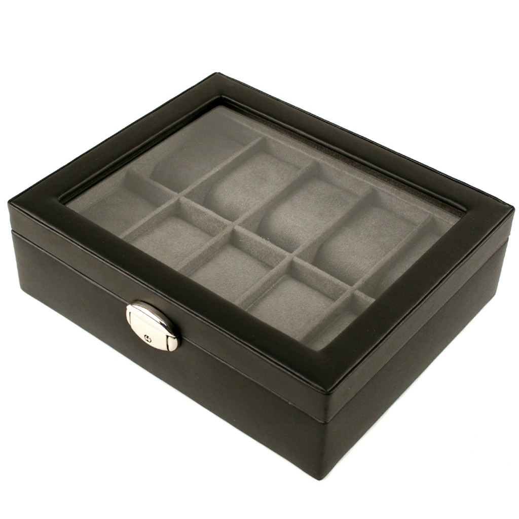 TechSwiss Black Leather Watch Box | Mens Luxury Organizers | TechSwiss TSA3736 | Side