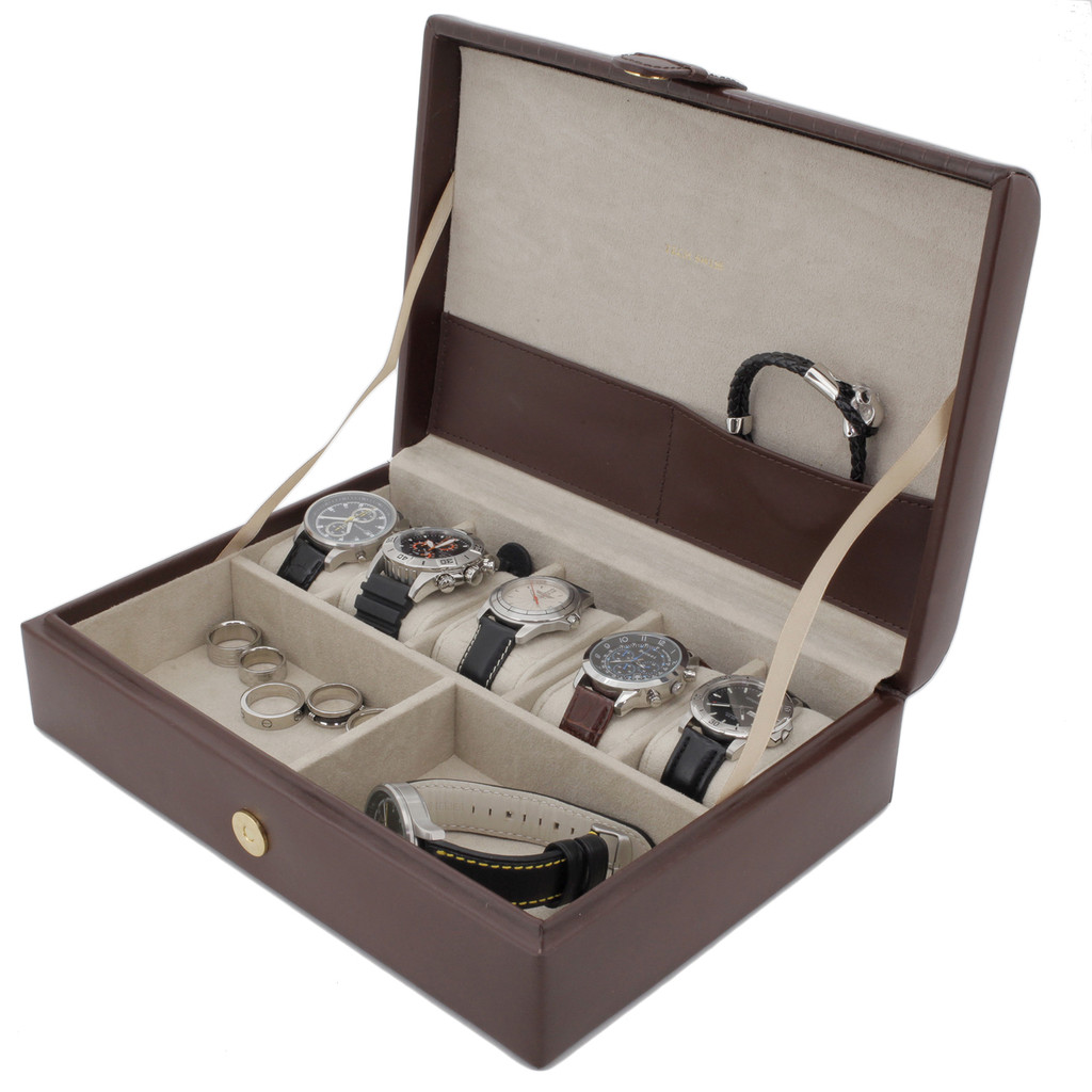 Valet Watches Jewelry Leather Storage Brown - Main