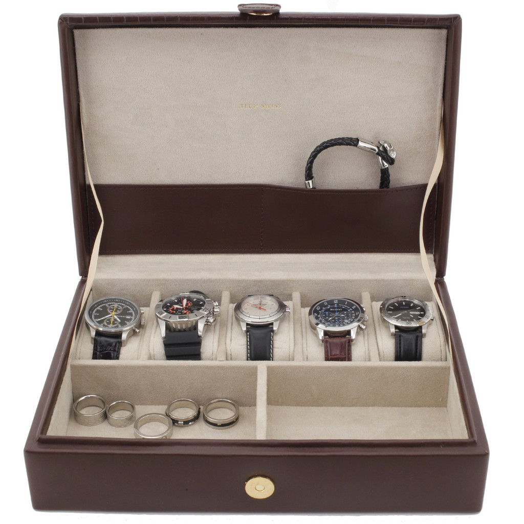 Valet Leather Brown for 5 Watches with Extra Large Compartments for Pens Eyeglasses